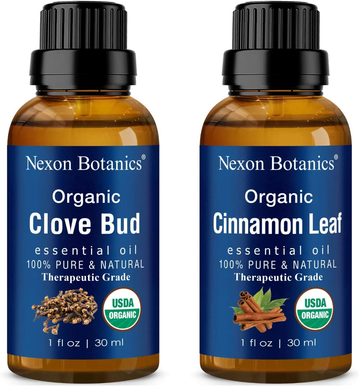 Organic Clove Bud Oil and Organic Cinnamon Oil - 100% Natural, Pure, Therapeutic Grade Essential Oils for Diffusers, Aromatherapy, Personal Care - Natural Mood Enhancers - Bundle by Nexon Botanics
