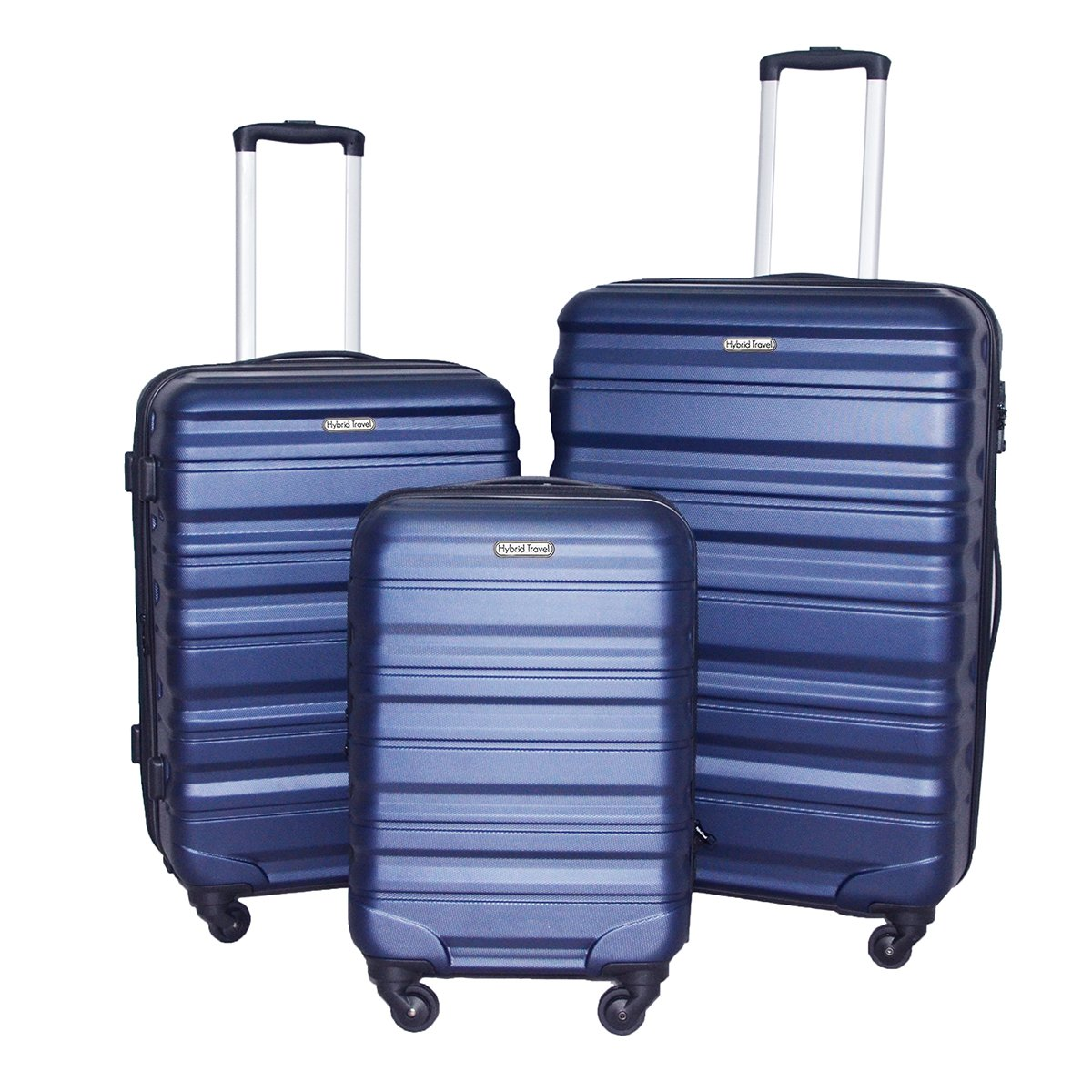 196c51d8c0f3 HyBrid & Company Luggage Set Durable Lightweight Hard Case Spinner Suitcase  LUG3-SS559A, 3 Pieces, Navy
