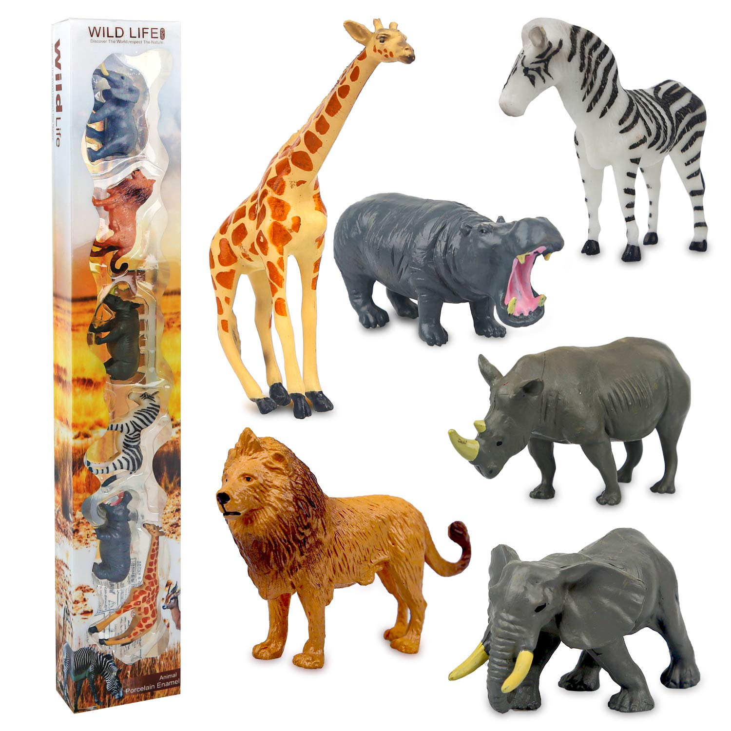Sanlebi Animal Figures, 6 pieces Realistic Jungle Wild Animal Toys, Plastic Animals Set Cake Toppers Toy for Toddlers Children