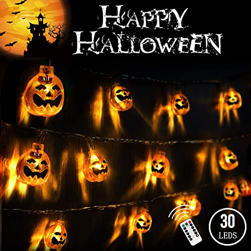 3D Halloween Lights Orange Pumpkin 20 Ft 30 LED String Lights Waterproof Dimmable 8 Modes with Remote Timer Battery Operated Jack-O-Lantern Halloween Party Decoration for Indoor Outdoor IP65