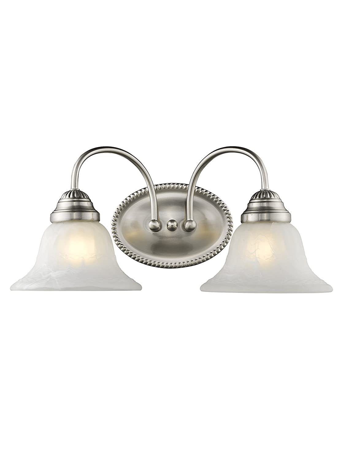 Livex Lighting 1532-91 Edgemont 2 Light Vanity Brushed Nickel with White Alabaster Glass