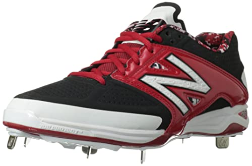 New Balance Men's L4040V3 Cleat Baseball Shoe, Black/Blue, 12.5 2E US