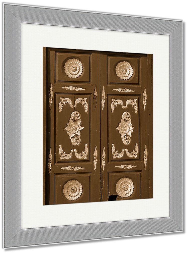 Ashley Framed Prints Thai North Temple, Wall Art Home Decoration, Sepia, 30x26 (frame size), Silver Frame, AG5343532