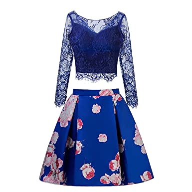 c05a8215da0b TANGFUTI Two Piece Homecoming Dress Short Lace Floral Half Sleeves Prom  Graduation Gowns Blue US10