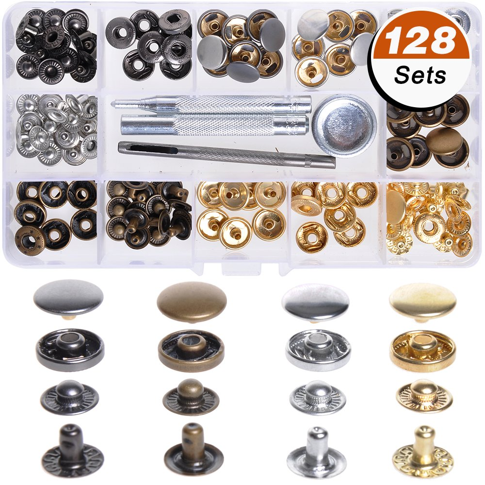 LAMPTOP 128 Pcs 4 Colors Snap Fasteners Leather Snaps Button Kit Press Studs (633(12.5mm)) with 4 Pieces Fixing Tools for Leather Craft Repairing Decoration