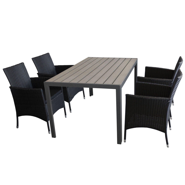 5tlg sitzgarnitur gartenm bel set mit aluminium gartentisch polywood tischplatte grau. Black Bedroom Furniture Sets. Home Design Ideas
