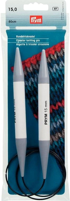 Prym 211317 KST Aiguilles /à tricoter circulaires en plastique Gris 80 cm 15 mm