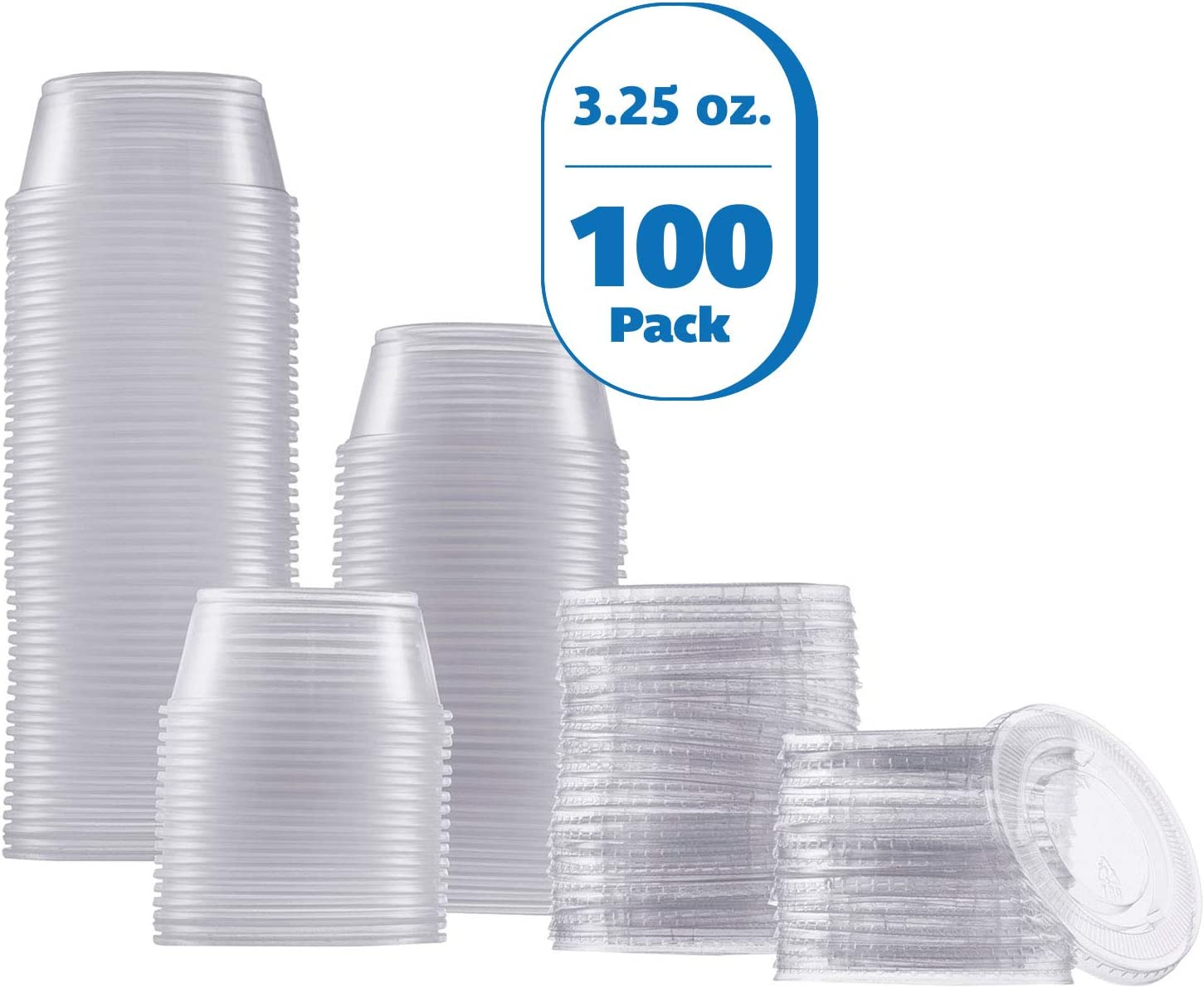 Zeml Portion Cups with Lids (3.25 Ounces, 100 Pack) | Disposable Plastic Cups for Meal Prep, Portion Control, Salad Dressing, Jello Shots, Slime & Medicine | Premium Small Plastic Condiment Container