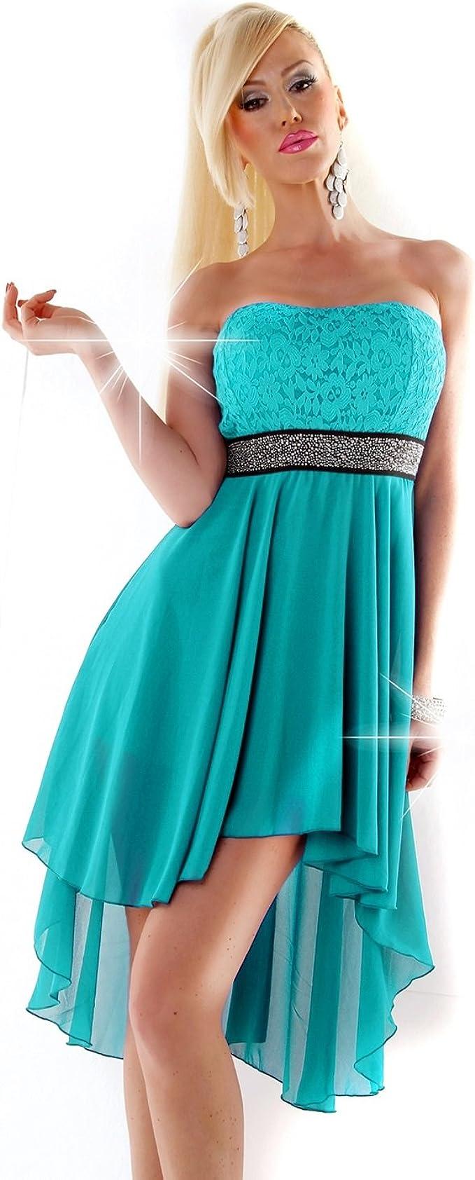 Fashion Vokuhila Kleid Spitze Strass Abendkleid Abiballkleid vorne kurz  hinten lang Cocktailkleid