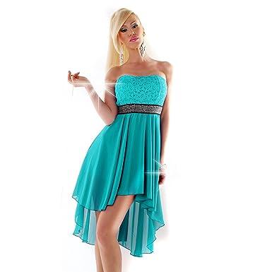 102feadd5d8b Fashion Vokuhila Kleid Spitze Strass Abendkleid Abiballkleid Vorne kurz  Hinten lang Cocktailkleid