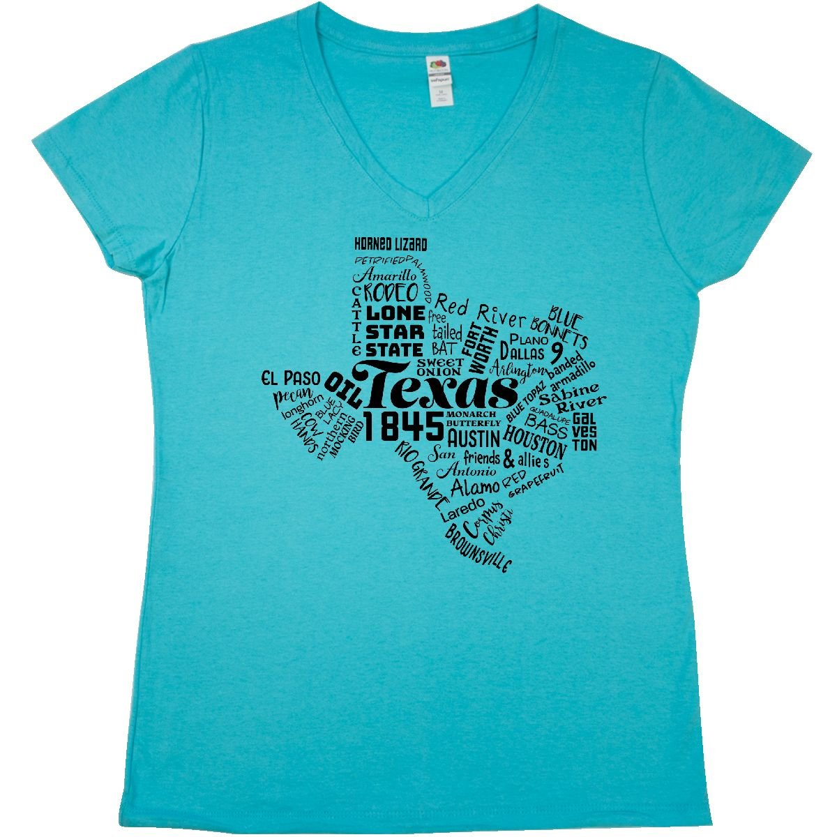 Amazon.com: inktastic Texas Word Salad- State Outline Junior V-Neck T-Shirt: Clothing