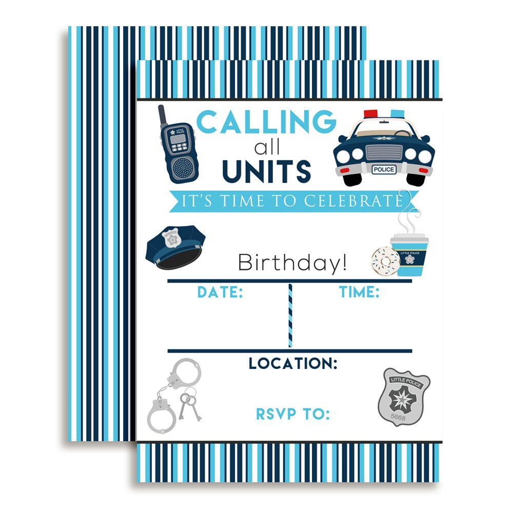 Amanda Creation Policeman Police Officer Birthday Party Fill in Invitations Set of 20 with envelopes