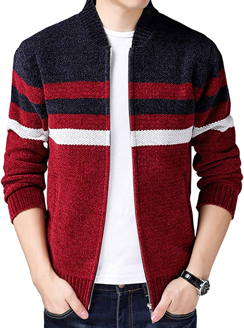 Fuwenni Mens Casual Slim Fit Stripes Knitted Zipper Cardigan Sweaters