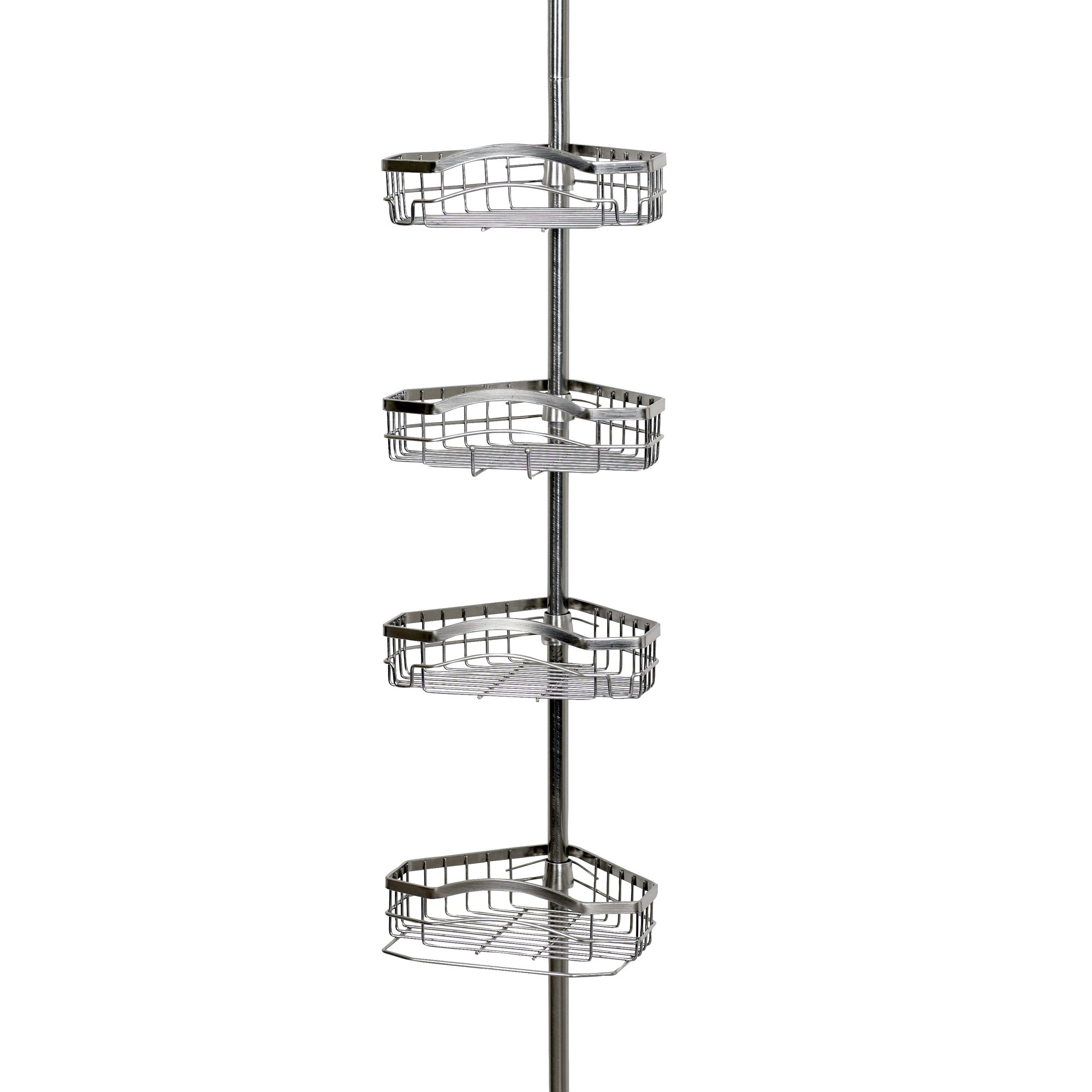 Zenna Home 2125BN Tension Corner Pole Caddy, Brushed Nickel