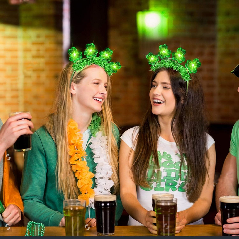 TURNMEON 4 Pack St.Patricks Day Light up Tinsel Green Shamrocks Clovers Headbands Hat Accessories for Kids Women Saint Patricks Party Favors Costume Irish Party Supplies Decorations