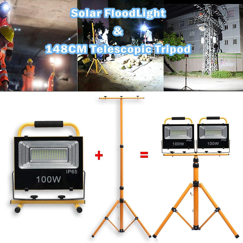1X 100W LED Baustrahler Solar Strahler Mit Teleskop-Stativ St/änder Arbeitsstrahler mit USB Ausgang-Ports Tragbar Outdoor Scheinwerfer Wasserdicht IP65