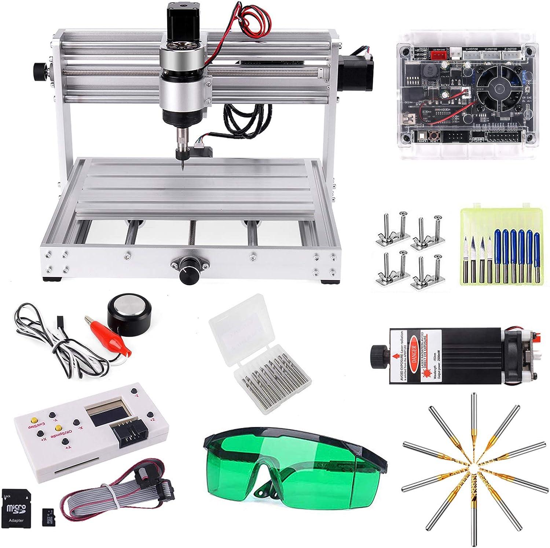 Máquina de grabado CNC 3018 Pro MAX de 3W con husillo de 200W, Yofuly todos los marcos de aluminio 3 ejes PCB PVC fresadora con barra de extensión ER11 Collet juego de fresado recubierto de PCB