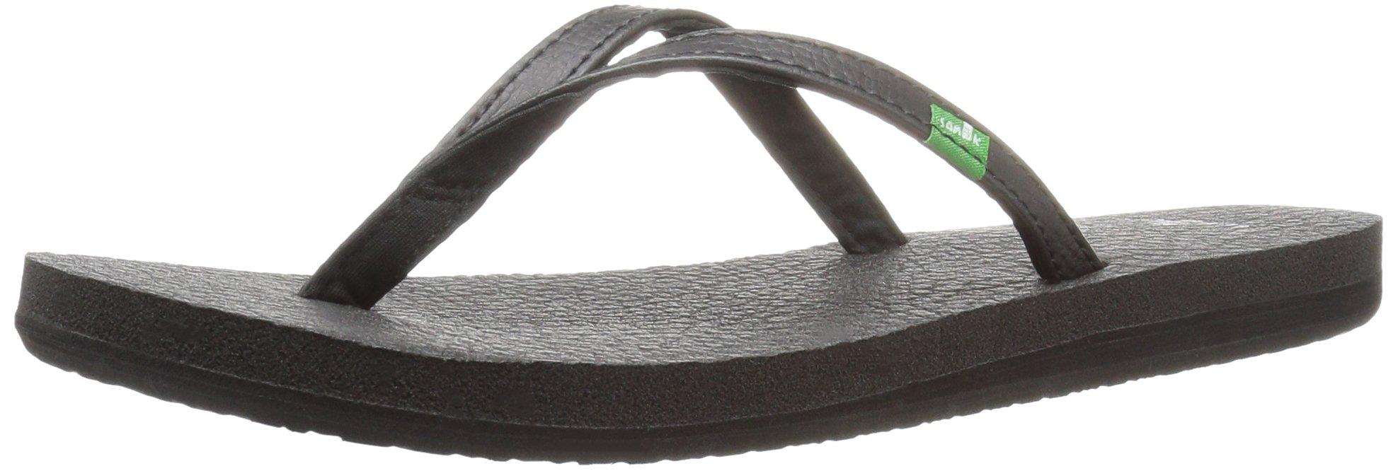 Sanuk Women's Yoga Spree 4 Flip Flop, Black, 9 M US