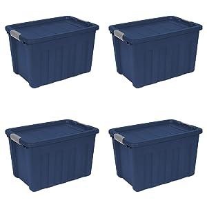 Sterilite 16877404 25 Gallon Ultra Tote, True Blue lid & base with Titanium latches, 4-Pack