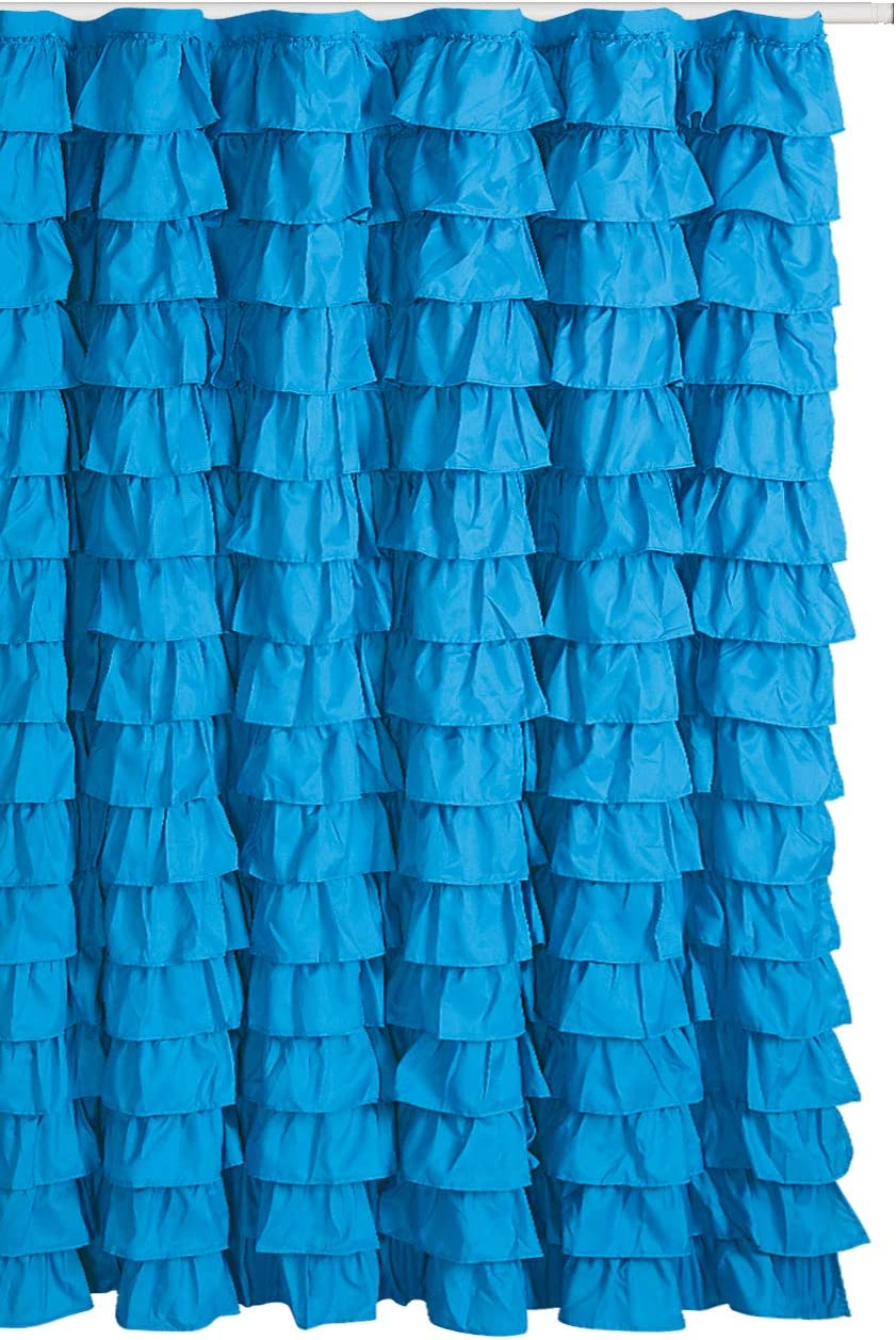 spring Home Waterfall Ruffled Fabric Shower Curtain (Blue/Turqoise)