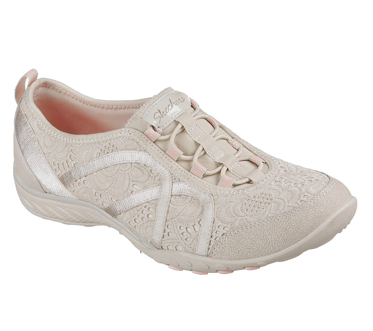 Skechers Relaxed Fit Breathe Easy Elegant Glow Women's Fashion Sneakers, Taupe Eyelet Mesh, 9.5 US