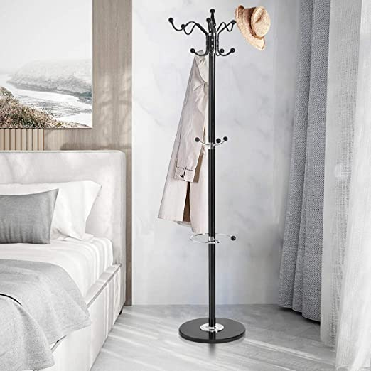 Tree Design Metal Coat Rack With Mable Base,70 x 18 x 14 Inches