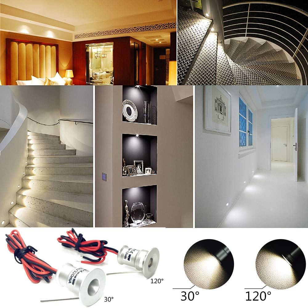 Hallway,DIY Lighting Warm White Cold White Showcase Light Cabinet Downlight IP65 CE ROHS Stairs Small LED Spotlight 9PCS 12V 1W Recessed Celling Light for Kitchen Warm Light, 30/° Closet