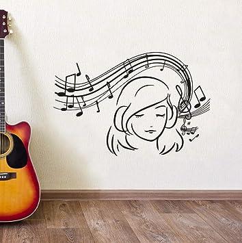 XCSJX Music Note Etiqueta de La Pared Chica Escuchando Música ...