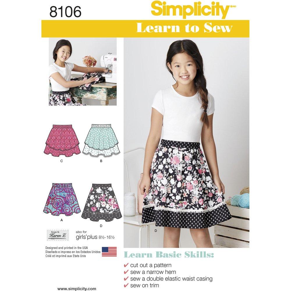 Simplicidad de Costura para Faldas para niñas y Adolescentes Plus ...