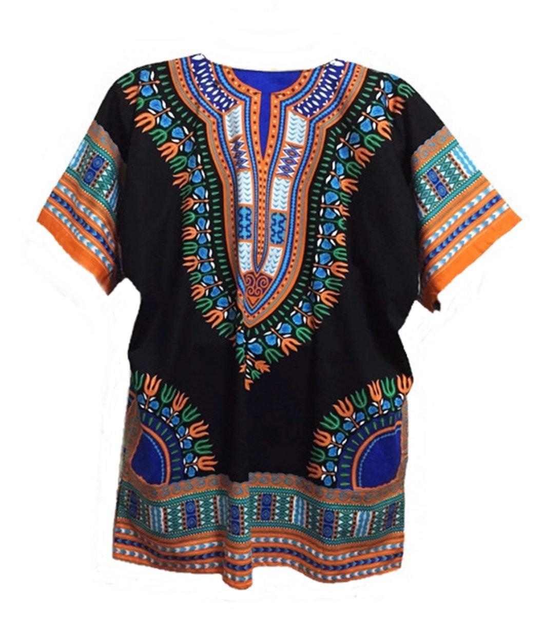 Vipada Handmade Men Dashiki Shirt African Caftan Black with Orange XXXXL by Vipada Handmade (Image #2)