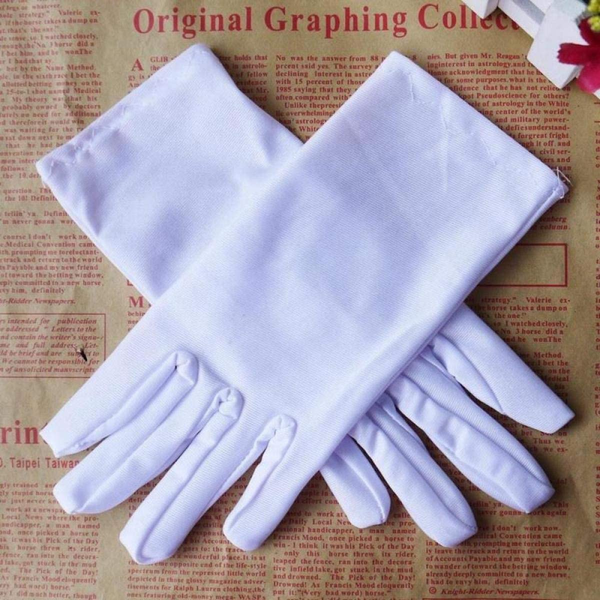 Jewelry Silver Inspection Gloves Medium Size Black EOPER Satin Gloves for Women 5 Pairs Formal Wrist Length Gloves Short Satin Glove Coin for Wedding Evening Party Opera