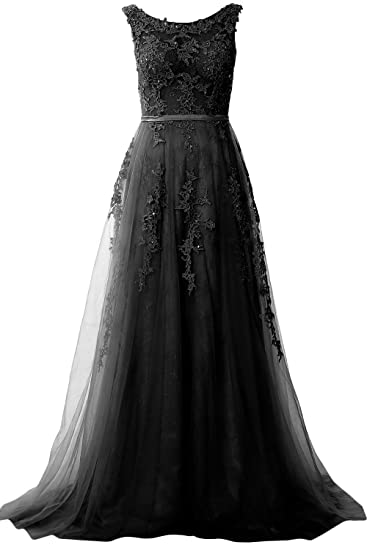 MACloth Women Boat Neck Long Prom Gown Vintage Lace Evening Formal Party Dress (UK6,