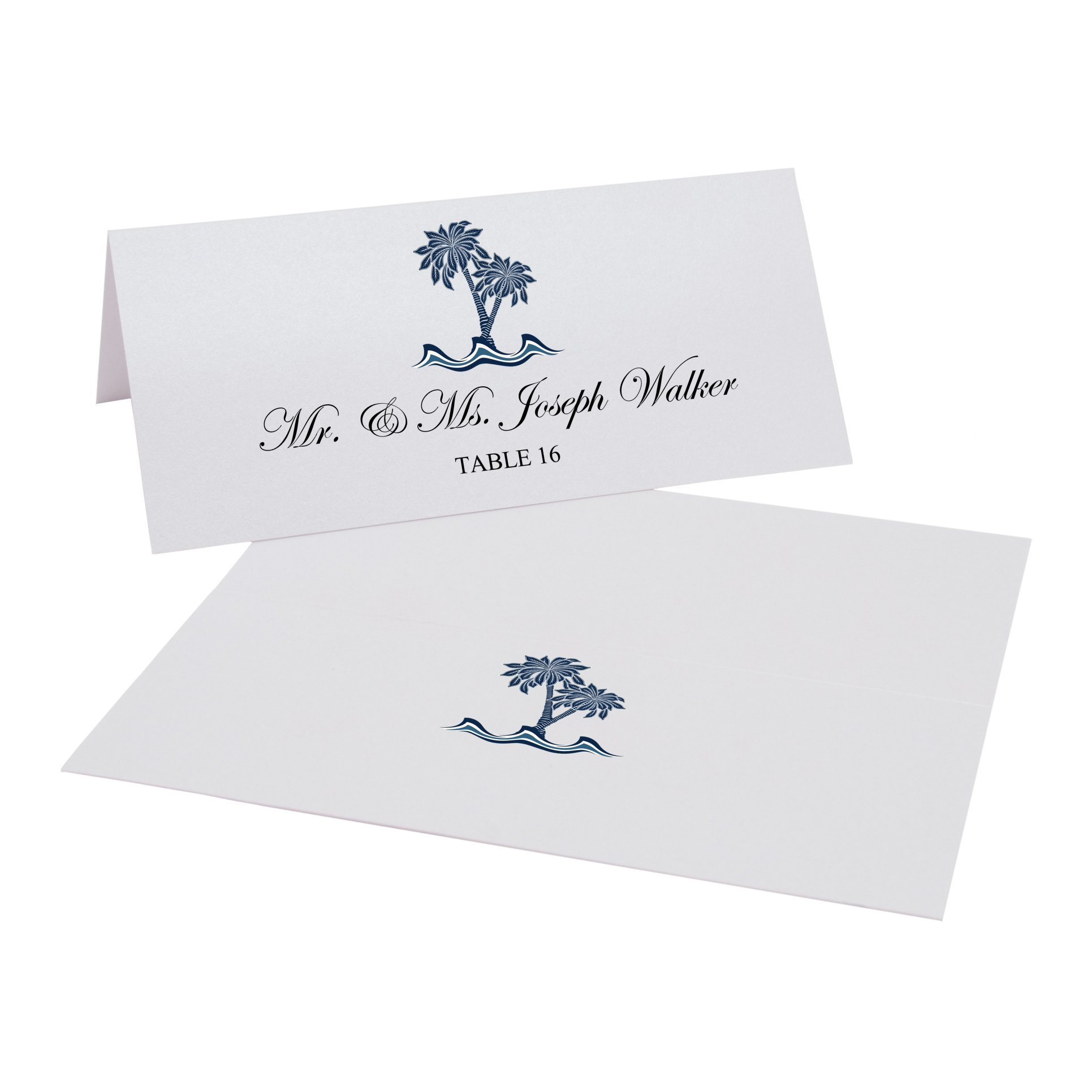 Paisley Palm Tree Easy Print Place Cards, Pearl White, Set of 375 (94 Sheets) by Documents and Designs