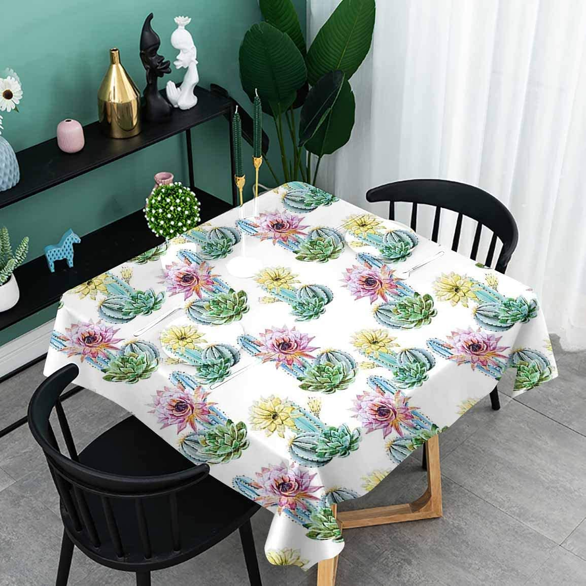 oobon Water-Proof Table Cover, Hot Desert South Mexican Vintage Plant Cactus Flowers with Spikes, Kitchen Rectangle Protective Tablecloth, 63x63 inch