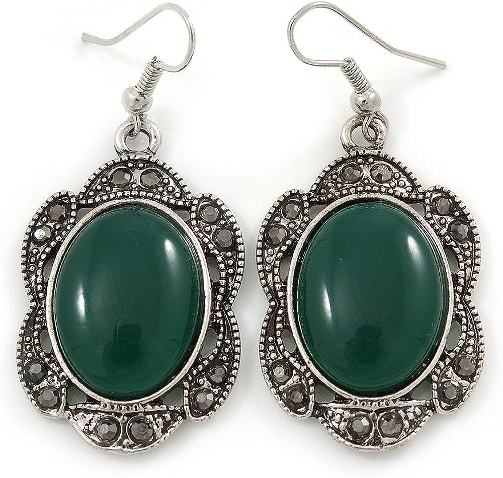 Pendientes estilo victoriano con piedra oval verde, tonalidad de la plata quemada, 50mm de largo