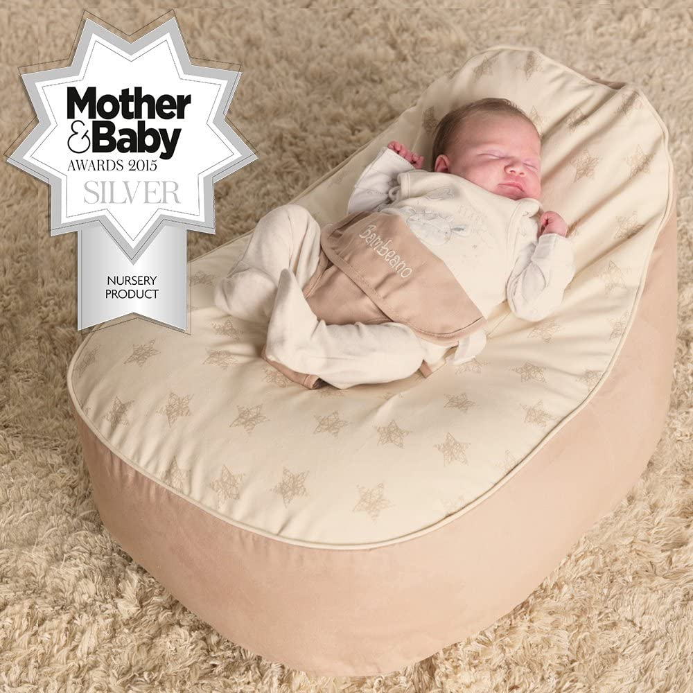 Natural Cream Cotton Baby Bean Bag Chair for 0-6 months bambeano/® Baby Bean Bag Support Chair
