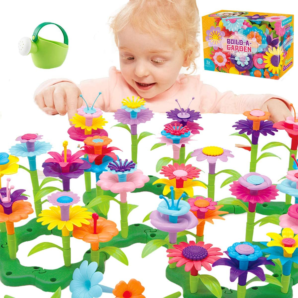 Kingho Flower Garden Building Toys for 3 4 5 6 7 Years Old Girls STEM Gardening Pretend Toy Gift for Kids Toddlers Stacking Game Educational Activity Playset for Preschool Children (Large)