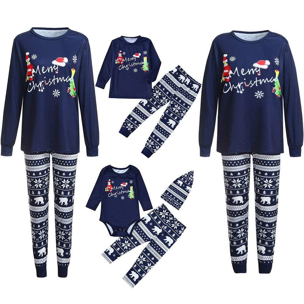 PLOT❤Family Matching Christmas Pajamas Set Romper+Deer Pants+Hat Outfits Vacation Clothes ✿ ✿ ---------------------------✿ ✿
