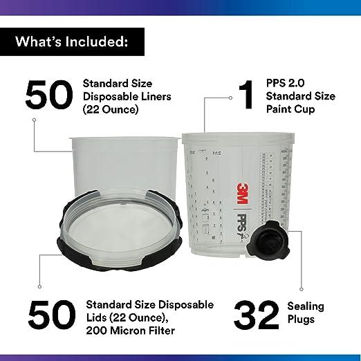 3m 26000 Pps 2 0 Spritzpistole Becher Deckel Und Liner Kit Standard 200 Mikron Filter 623 Ml Auto