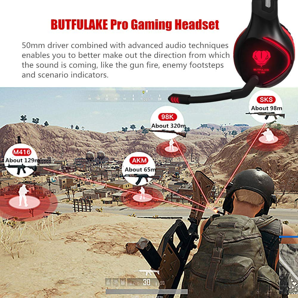 BUTFULAKE Gaming Headset for PS4, Xbox One, Xbox One S, PC, Nintendo Switch, Mac, Laptop, Computer, 3.5mm Wired Over Ear Gaming Headphones with LED Light & Noise Cancelling Microphone, Red