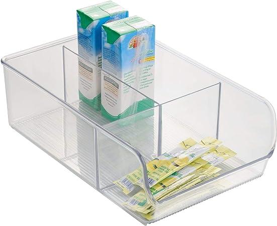 iDesign Caja transparente con 3 compartimentos, organizador de ...