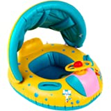 Peradix Pool Floats Baby Float Water Toys with Inflatable Canopy Sunshade Swimming Pool Boat Floating Ring (#1)