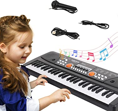 Piano para Niños, Teclado de Piano Niños Teclado Electrónico con Micrófono 61 Teclas Piano Musical Juguetes para Niñas Educativo Regalo para Niño Niña ...