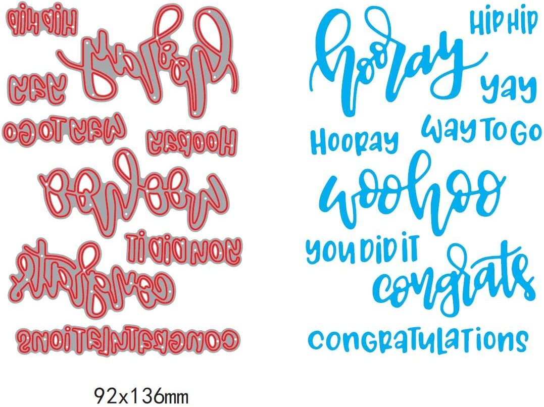 1set Hooray Congratulation Sentiment Dies cuttings+clear stamp Cut Metal Scrapbooking Stencils Die for DIY Embossing Photo Album Decorative DIY Paper Cards Making Craft