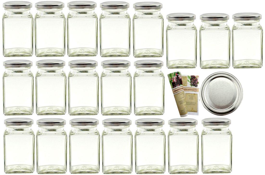 gouveo 24er Set Einmachgl/äser Quadrat 260 ml incl Vorratsgl/äser Einkochgl/äser Einweckgl/äser Gew/ürzgl/äser Marmeladengl/äser Drehverschluss Silber BLUESEAL