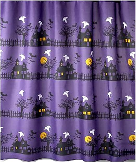 Gdcover Happy Halloween Haunted Mansion Design Waterproof Shower Curtain Fabric