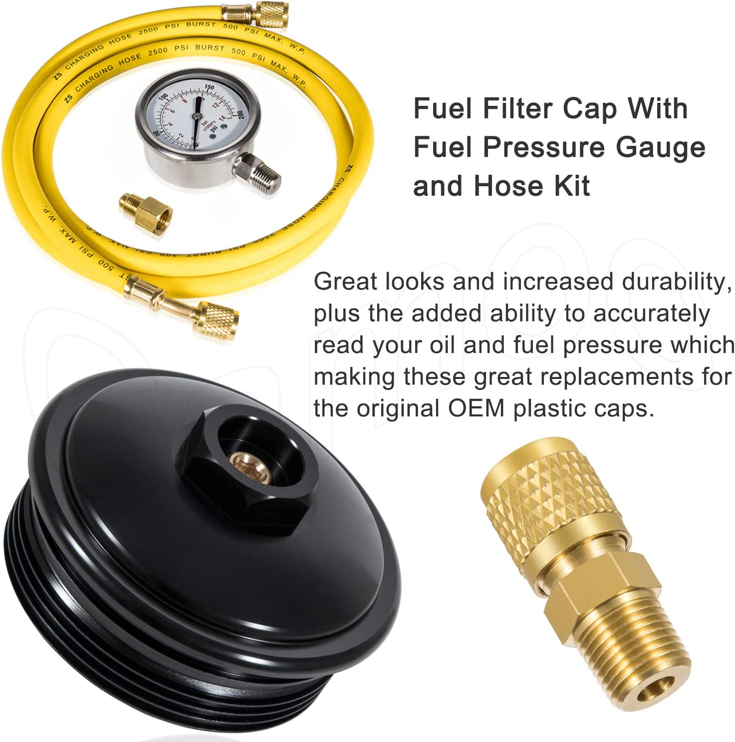 Fuel Filter Cap with Fuel Pressure Gauge and Hose Kit for 2003-2007 Ford Power Stroke Diesel 6.0L F250,F350,F450,F550,F650,F750,Excursion Camoo Billet Aluminum Oil Filter Cap