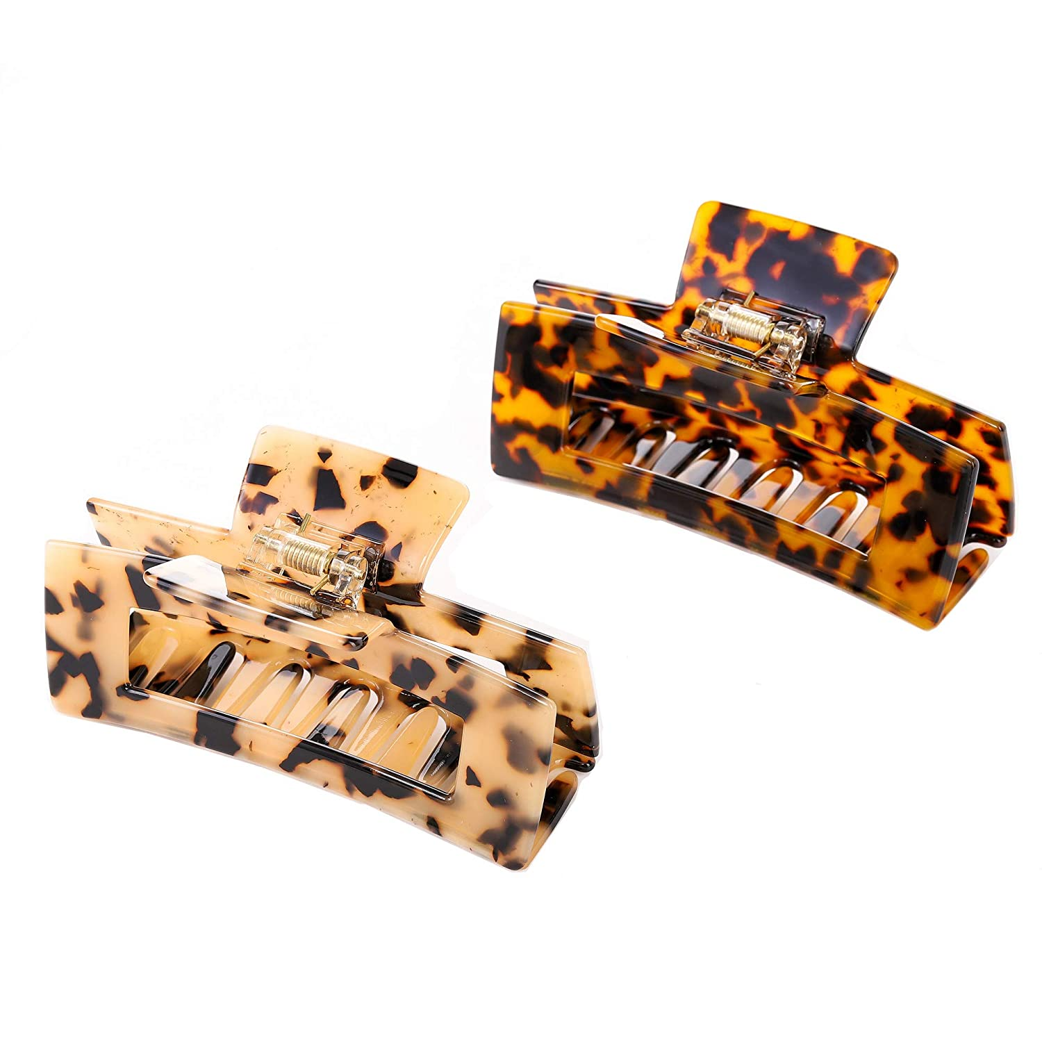 Large Hair Claw Clips Cutout Tortoise Shell Celluloid Hair Jaw Clips French Design Rectangle Hair Clamp for Women Girls (2 Pack)