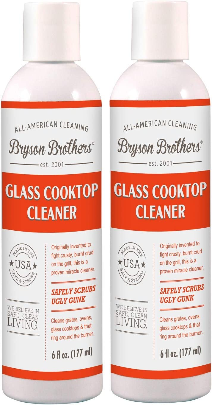 Bryson Brothers 6 Fl Oz 2 Pack Glass Cooktop Cleaner (12 Fl Oz) - Safely Scrubs Stains, Grease and Grime on Glass Cooktops, Gas Ranges, Oven Doors and Fireplace Door Glass