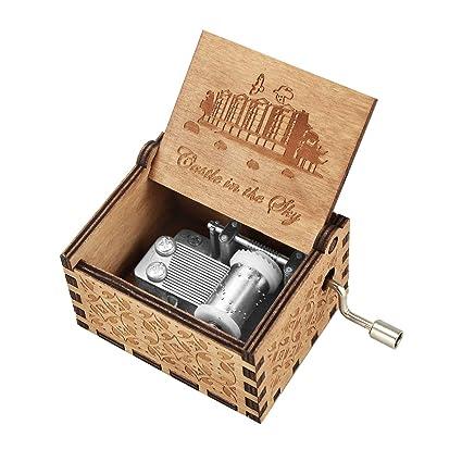 BOENFU Caja de música con mecanismo clásico, caja de música con manivela de madera Antigua